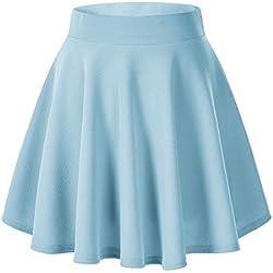 Urban GoCo Falda Mujer Elástica Plisada Básica Patinador Multifuncional Corto Falda (Large, Azul Claro)