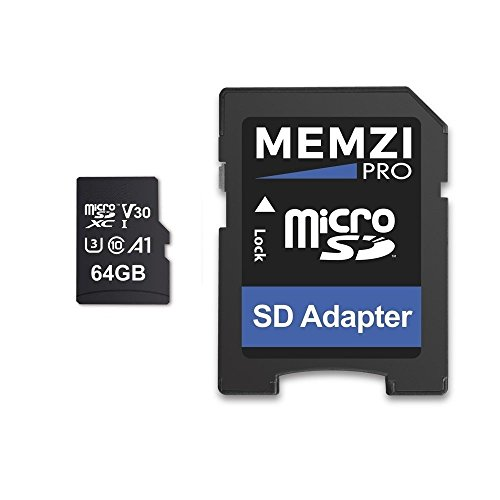 Memzi 64GB Micro-SDXC Speicherkarte für GoPro Action Kameras–High Speed Class 1095MB/s Lesen 60MB/s Schreiben UHS-I class 34K 2K 3D Full HD Aufnahme mit SD Adapter