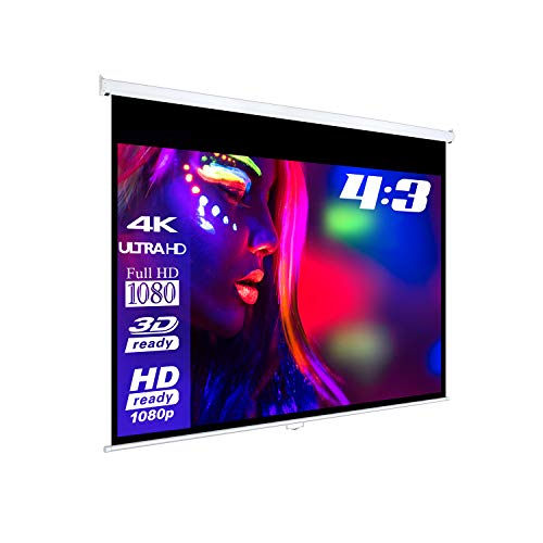 eSmart Basics Rollo-Leinwand [Größenauswahl] 240 x 180 cm | Format 4:3 | Vollmaskierung | Heimkino Beamer Projektionsleinwand Rollo Leinwand LCD LED