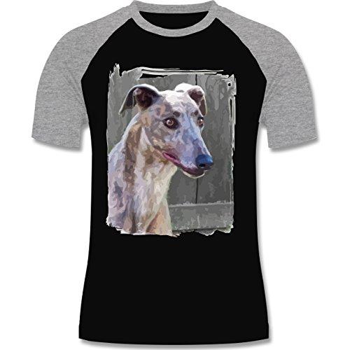 Hunde - Windhund - zweifarbiges Baseballshirt für Männer Schwarz/Grau Meliert