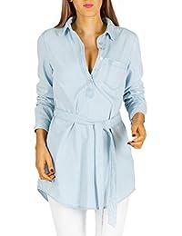 Bestyledberlin Damen Jeanshemd lange Jeansbluse Jeanskleid ,Blusen Tunika mit Gürtel k73pne