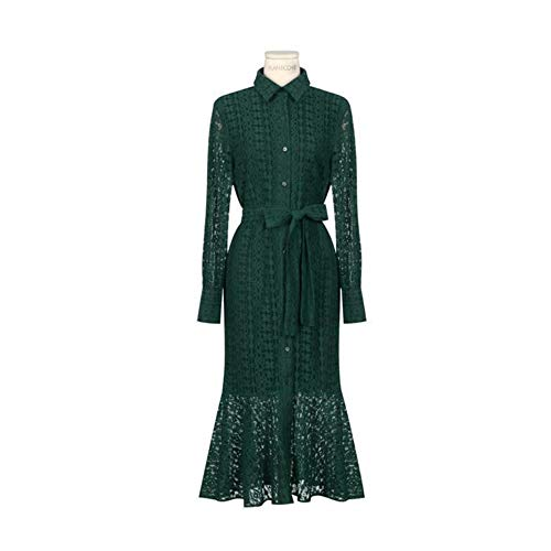 Rocke Schnür-Kleid mit Langen Ärmeln im Fishtail-Stil Frühlings-inspiriertes Spitzenkleid im Retro-Shirt-Stil (Farbe : Grün, Size : S)