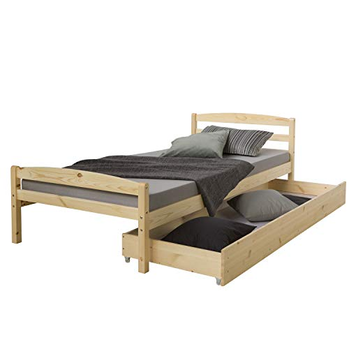 Homestyle4u 889 Holzbett Kiefer massiv , Einzelbett aus Bettgestell mit Lattenrost und Bettkasten , 90x200 cm , Natur
