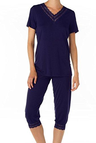 CALIDA - Pyjama corsaire pour femme Tuscany Bleu - Star White