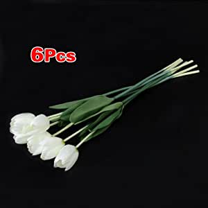 Fiori 6 Pc Simulazione Tulipano Artificiale Di Seta Piante Bianco