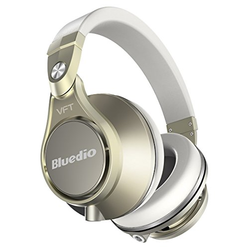 Bluedio U PLUS (UFO) Pro Extra Bass wireless Bluetooth headphones brevettato PPS12 Drivers Over-Ear DJ Headphones (Champagne bianco)