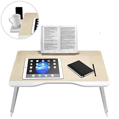 Erwachsene Laptop-schreibtisch (Tragbarer, zusammenklappbarer Laptop-Schreibtisch mit Schublade und herausnehmbarem Bucheinschub, der zum Schreiben, Lernen, Lesen auf dem Bett und dem Sofa für zu Hause und im Büro verwendet wird)
