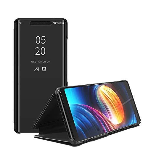 Compatible Funda Translucent Xiaomi Redmi S2/Y2 Negro, Inteligente Teléfono Carcasa Espejo Mirror Window View, Espejo de Maquillaje Mirror Flip, Estéreo Soporte Pioneer