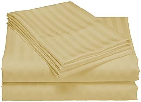 SCALABEDDING 100% coton égyptien 300 fils/cm² de 6 cm, 23 Ensemble de draps GOUSSET DE-Cal King Stripe Beige