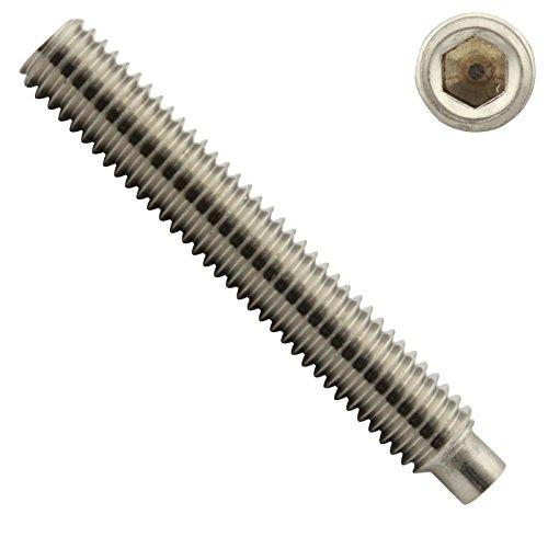 Gewindestifte mit Innensechskant und Zapfen - M6 x 20 mm - ( 10 Stück ) - Madenschrauben - DIN 915 ( ISO 4028 ) - aus rostfreiem Edelstahl A2 (V2A) - SC915 - SC-Normteile