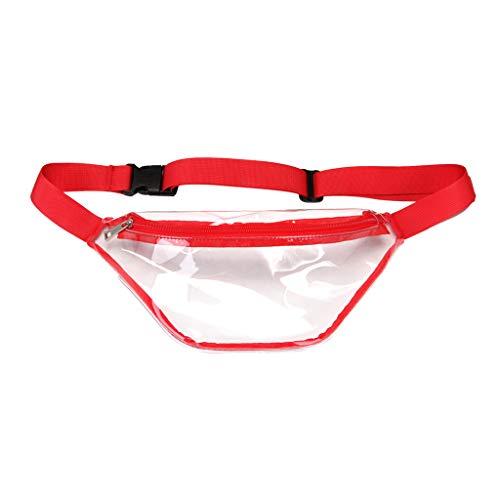 JimTw-UK Handytasche, modisches Design, PVC, für Damen, schlicht, transparent rot