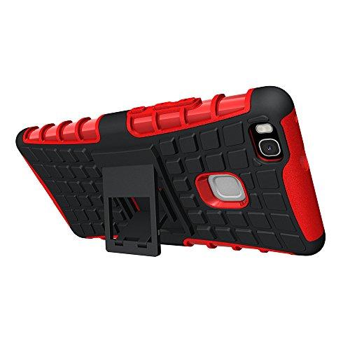 Huawei P9 Lite Hülle Case, GIM Rot Hybride Weiche Silikon TPU Ränder mit hartem PC Rückdeckel Schutzhülle Tasche Etui Cover für Huawei P9 Lite Smartphone mit Standfunktion Rot