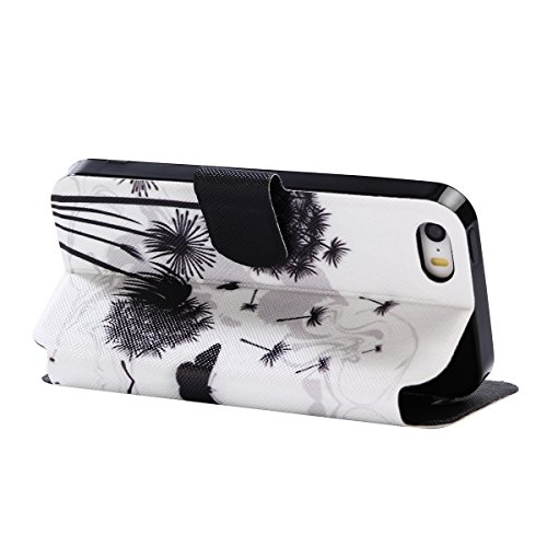 iPhone 5/5S Coque, Voguecase Étui en cuir synthétique chic avec fonction support pratique pour Apple iPhone 5 5G 5S SE (Arbre à papillons)de Gratuit stylet l'écran aléatoire universelle pissenlit noir 04