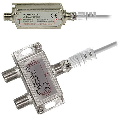 TronicXL Verstärker + F-Stecker Kabel + SAT Splitter DVBC Antennenverteiler Verteiler Weiche Splitter zb für DVBC DVBT2 Kabelfernsehen Unitymedia primacom NetCologne NetKassel Vodafone Set etc Sat-kabel-verstärker