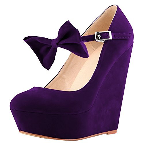 Oasap Damenmode Süßigkeitfarbe Bogen Plattform Knöchelriemen Keilabsatz Purple