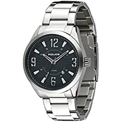 Police Men's Quartz Watch with Black Dial Analogue Display and Silver Stainless Steel Bracelet 13893JS/02M