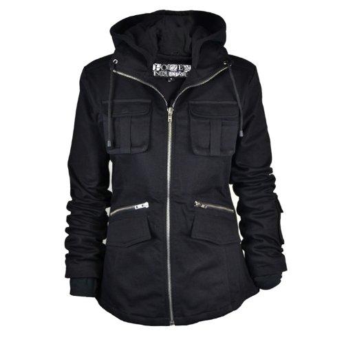 Donna Bella Giacca con cappuccio zip Up Cappotto Black L