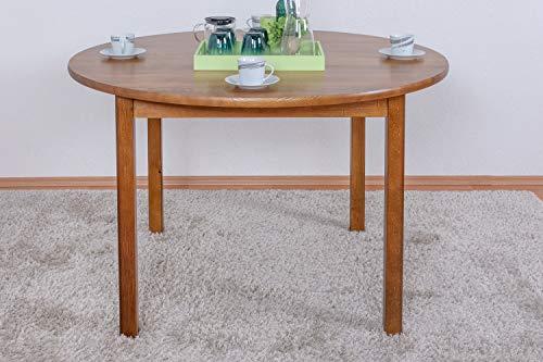 Tisch Kiefer massiv Vollholz Eichefarben Rustikal Junco 235B (rund) - Durchmesser: 120 cm