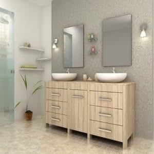 Paris prix ensemble meuble salle de bain sensa beige cuisine maison for Amazon meuble salle de bain