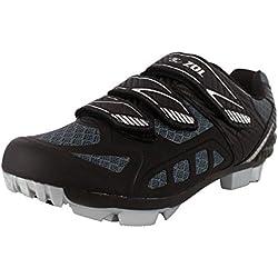 Zol Predator MTB - Zapatillas de deporte para ciclismo y bicicleta de montaña, Black with Silver