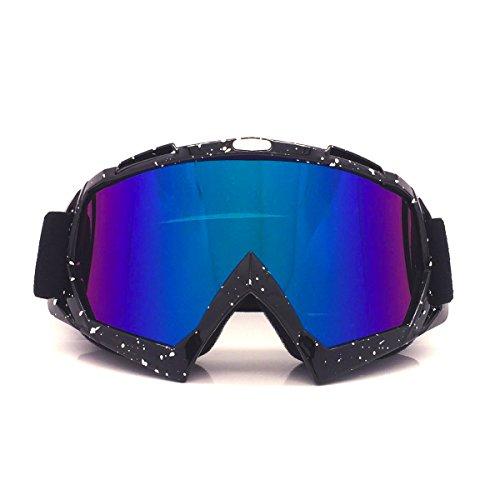 Jiele occhiali da sci,unisex occhiali da motocross ciclismo bicicletta off road occhiali da sole antivento antipolvere,protezione uv 400 bendable frame sport invernali all'aperto occhiali (nero)