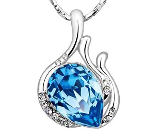 NEVI Aquamarine Party Designer Wear Swarovski Elements Rhodium Plated Brass Matinee  Pendant Necklace Jewellery for Women & Girls (Blue & Silver)