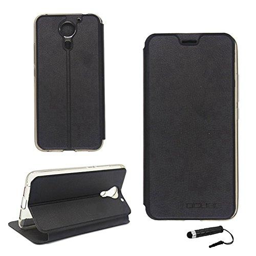 Tasche für UMIDIGI plus / UMIDIGI Plus E Hülle, Ycloud PU Ledertasche Metal Smartphone Flip Cover Case Handyhülle mit Stand Function Schwarz