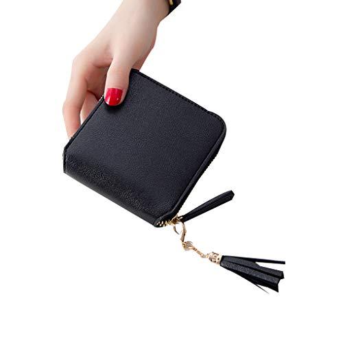 Minzhi T Man Girls Short Wallet Women Tassel Small Square Zipper Wallet Coin Purse Cards Holders Pouches