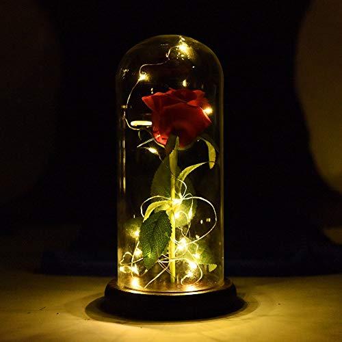 Hankyky Rot Rose Holz Basis Glasabdeckung LED Fee Lichterketten in einer Glaskuppel für Valentinstag Weihnachten Home Decor Party Hochzeitstag Urlaub