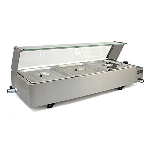 Kukoo Gastro Edelstahl 3 GN Einsätze - Bain-Marie Chaving Dish Wasserbad Speisenwärmer Buffetwärmer Wärmer 93 cm x 35 cm x 37.5 cm