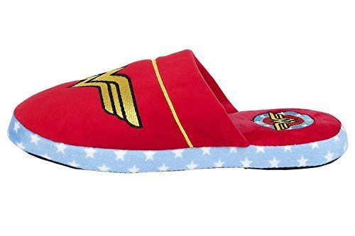 Groovy DC Comics Adulti Wonder Woman Accappatoio Accappatoio O Ciabatte - Pantofole - Rosso, 35-37