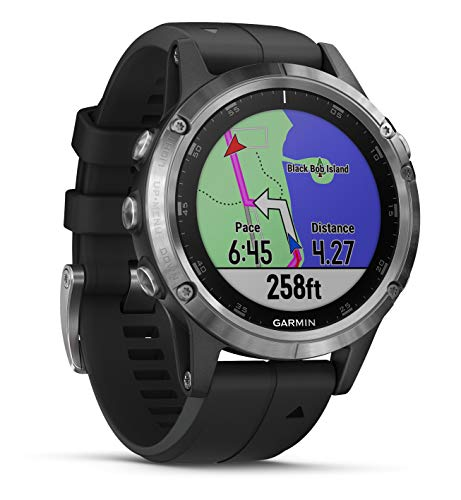 Garmin Fenix 5 Plus  -  Multisport GPS手表,银色搭配黑色表带