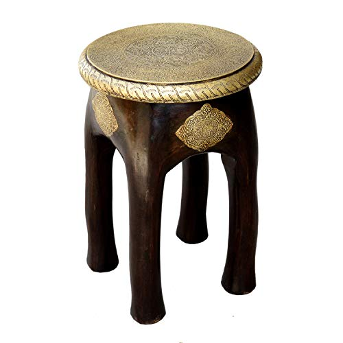 Orientalischer Sitzhocker Kamala H 45 x Ø 34 cm rund aus Massivholz Mango mit Messingintarsien | Kunsthandwerk Pur | Vintage Holz-Hocker Handmade Beistelltisch | MA03-24