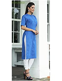 Rosaniya Fully Stitched Cotton Straight Ban Necked Office Wear Kurti for Women (NIR0002), Holi Special, sale on amazon today