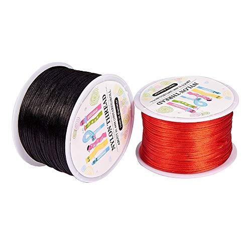 PandaHall Elite - 2 Rouleaux Fil Rond en Nylon Corde en Nylon Tressé pour la Fabrication de Noeuds Chinois et Bracelet Collier, Noir et Rouge, 1mm; 100yards/rouleau
