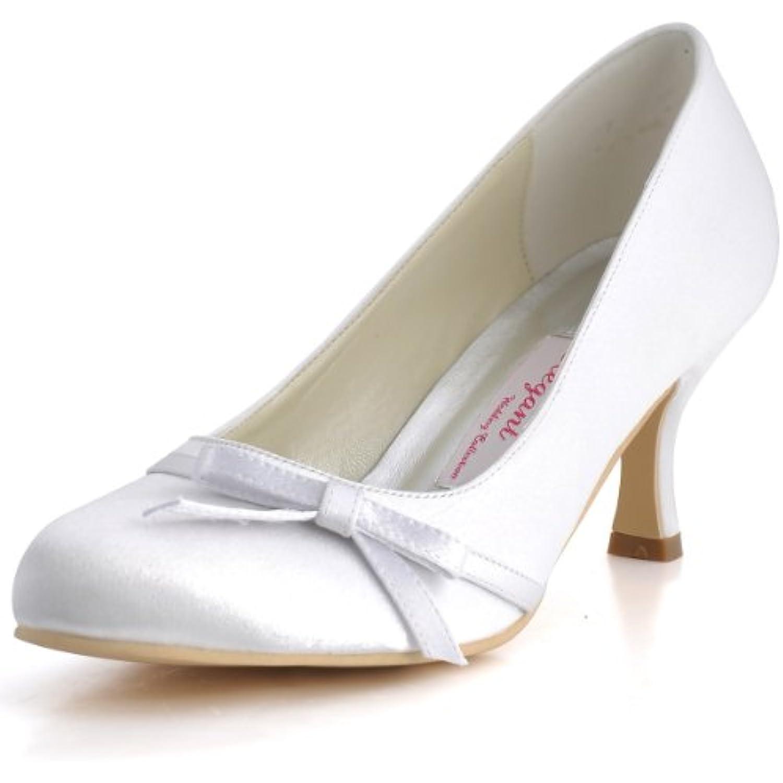 ElegantPark A0756 Femme Bout Rond Noeud a deux boucle Talon De Satin Escarpins Chaussures De Talon Mariage Mariee B00K4U0W36 - 3994f4