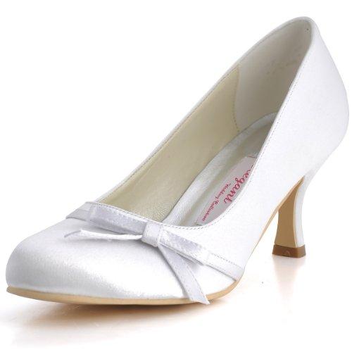 ElegantPark A0756 Scarpe da sposa con tacco Scarpeleganti donna Bianco (bianco)