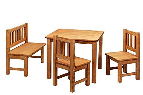 ♥ Bomi Kindersitzgruppe Amy Outdoor aus Holz für Garten | Kinder Gartenmöbel mit Sitzbank | Massiv Kinderbank wetterfest | Gartenbank und zwei Stühle | Kindermöbel für Kleinkinder, Mädchen und Jungen