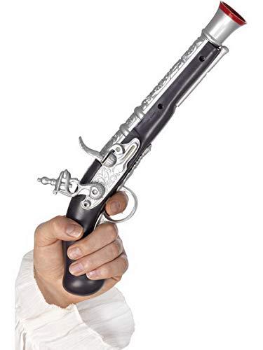 �m Accessoires Zubehör Piraten Revolver Pistole Waffe im realistischen Look (Attrappe), perfekt für Karneval, Fasching und Fastnacht, Silber ()
