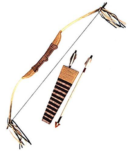 Confettery - Spielzeug Bogen + Pfeile Indianer Kostüm Indianerkostüm Waffe mit Perlen Federn, ()