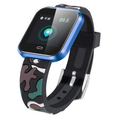 LBJN Farbe Großbild Smartwatch Herzfrequenz-Messgerät Blutdruckmessgerät Schlafmonitor Armband Multifunktions-wasserdichtes Sportarmband-Camouflage Blue -