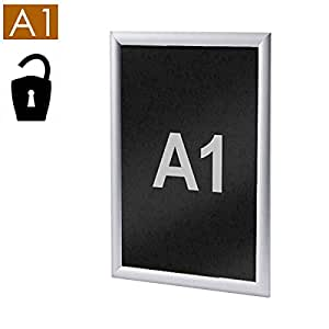 A1 Antivol de cadre en Aluminium avec Insert en PVC Ardoise 25 mm, coins Stahldas droite