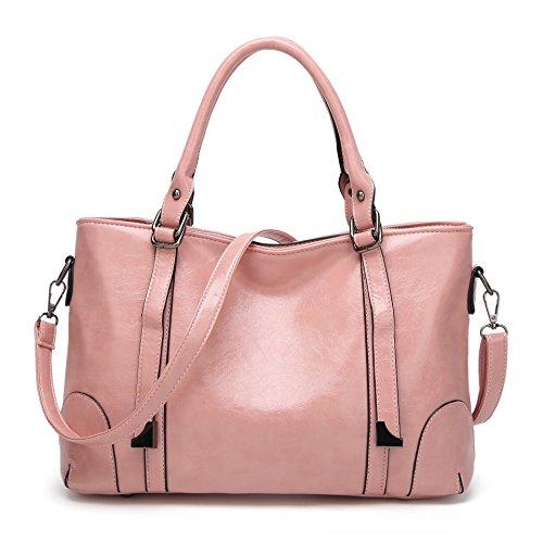 Damen Handtasche Schwarz Groß Reise Shopper Tasche Pink