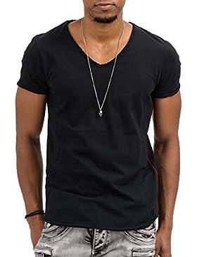 trueprodigy Casual Hombre marca Camiseta basico ropa retro vintage rock vestir moda cuello V manga corta slim...