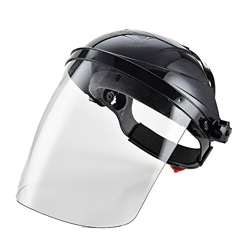 Zhi Jin verstellbar klar Sicherheit Face Shield Visier Bildschirm Maske Helm Anti Scratch Splash Eye Cover Schutz schwarz (Kopf Visier Schweiß)