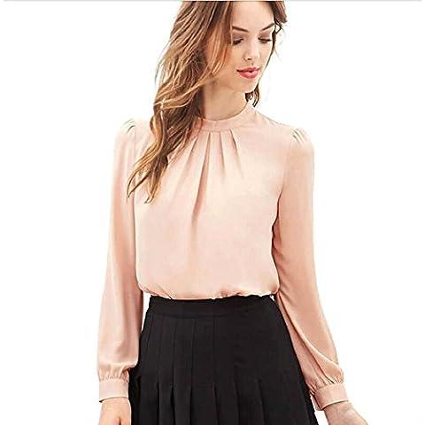 Culater® Las Mujeres del verano ocasional de la gasa de manga larga tops camisa blusa (M, Rosa)