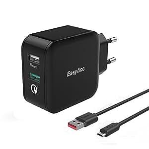[Quick Charge 3.0] EasyAcc 30W Ladegerät 2 Port Smart Adapter mit 100cm Micro Kabel