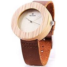 Xhyqs Reloj De Pulsera De Ébano para Hombre Reloj De Pulsera Retro para Hombre Reloj Analógico