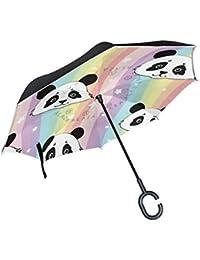 ALINLO - Paraguas invertido Colorido a Rayas Panda, Doble Capa, Paraguas inverso Impermeable para