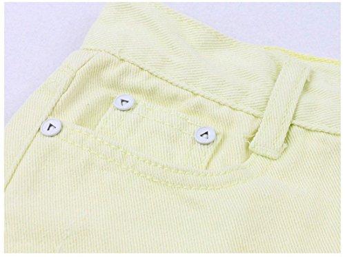 Des Femmes Des Trous Jeans Taille Haute Retro Deckle Shorts De Pointe Chaude Pantalons S / M / L / Xl Jaune